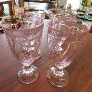 Set of 4 Large Lavender Noritake Water Goblets